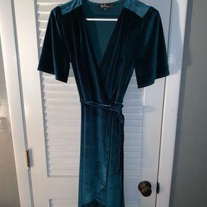 Teal velvet hi-low wrap dress